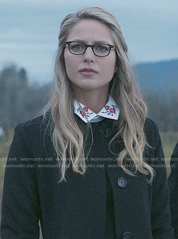 Kara's black sweater with floral collar on Supergirl