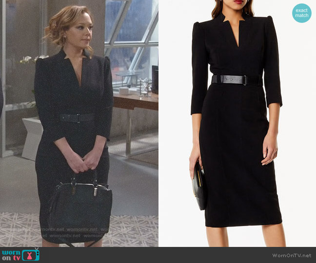 Leather Belt Pencil Dress by Karen Millen worn by Vanessa Cellucci (Leah Remini) on Kevin Can Wait