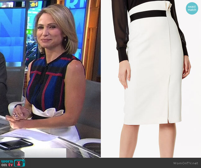 Ruched Waist Pencil Skirt by Karen Millen worn by Amy Robach on Good Morning America