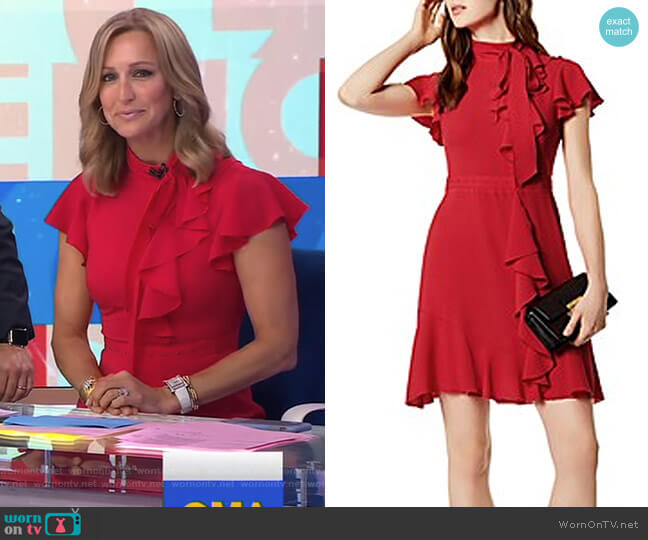 Ruffled Tie-Neck Dress by Karen Millen worn by Lara Spencer on Good Morning America