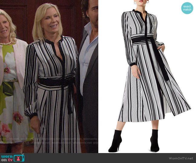 Karen Millen Striped Midi Shirt Dress worn by Katherine Kelly Lang on The Bold & the Beautiful