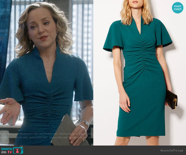 Karen Millen V-Neck Pencil Dress worn by Marissa Morgan (Geneva Carr) on Bull