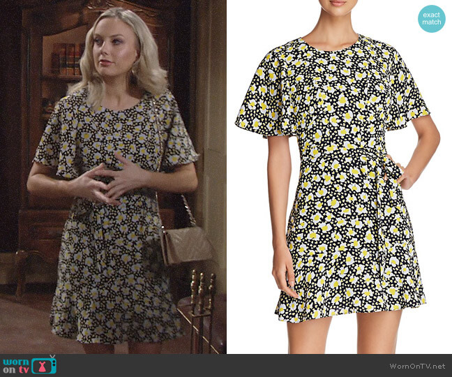 Karen Millen Floral Print Tie-Waist Dress worn by Melissa Ordway on The Young & the Restless
