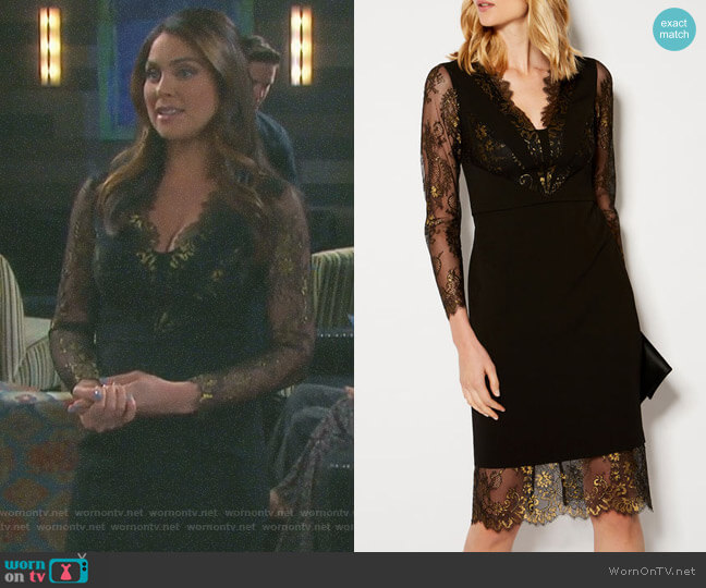 Lace Panel Pencil Dress by Karen Millen worn by Nadia Bjorlin on Days of our Lives