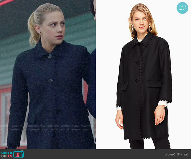 Kate Spade Floral Lace Trim Coat worn by Betty Cooper (Lili Reinhart) on Riverdale