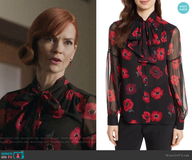 Kate Spade Poppy Chiffon Bow Blouse worn by Penelope Blossom (Nathalie Boltt) on Riverdale