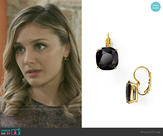 Kate Spade Square Leverback Earrings worn by Megan Morrison (Christine Evangelista) on The Arrangement