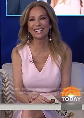 Kathie's pink v-neck sleeveless dress on Today