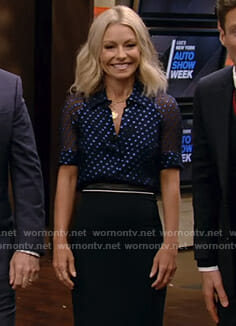 Kelly's blue polka dot blouse and pencil skirt on Live with Kelly and Ryan