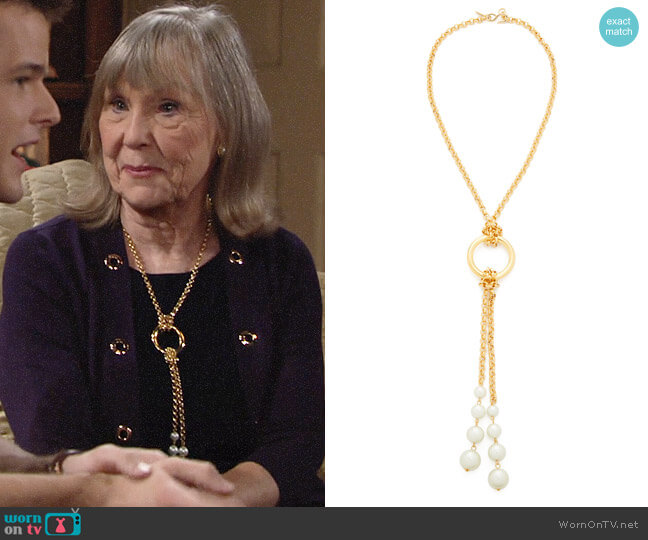 Kenneth Jay Lane Knot Chain Imitation Pearl Necklace worn by Marla Adams on The Young & the Restless