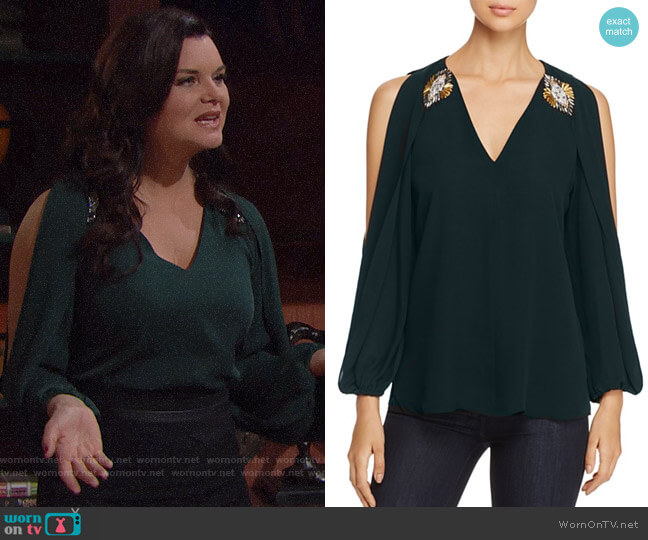 Kobi Halperin Embellished Cold Shoulder Silk Blouse worn by Katie Logan (Heather Tom) on The Bold & the Beautiful