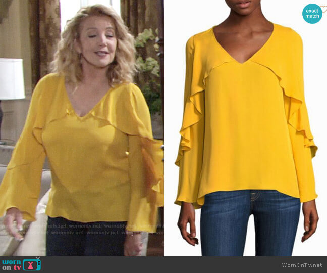 Kobi Halperin Ryann Blouse in Solar Yellow worn by Nikki Reed Newman (Melody Thomas-Scott) on The Young & the Restless