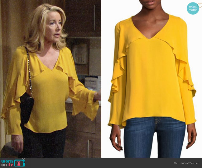 Kobi Halperin Ryann Blouse in Solar Yellow worn by Melody Thomas-Scott on The Young & the Restless