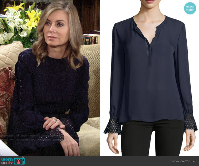 Kobi Halperin Traci Blouse worn by Ashley Abbott (Eileen Davidson) on The Young & the Restless