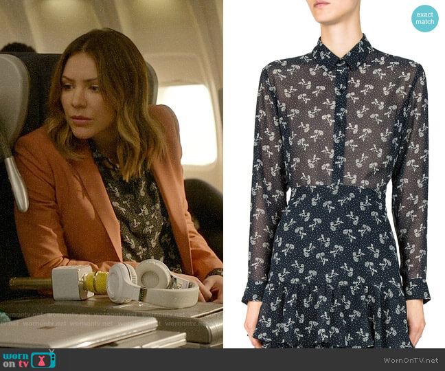The Kooples Bloom Sheer Floral-Print Shirt worn by Katharine McPhee on Scorpion