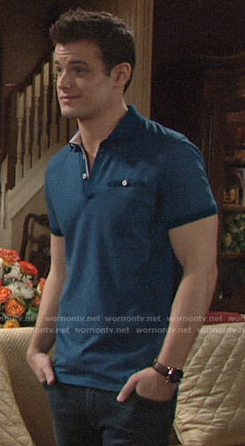 Kyle's blue polo shirt on The Young and the Restless