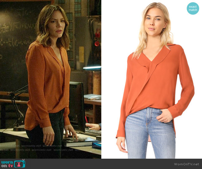 L'Agence Rita Blouse in Baked Clay worn by Katharine McPhee on Scorpion