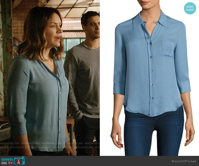 L'Agence Ryan Blouse in Sea Mist worn by Paige Dineen (Katharine McPhee) on Scorpion