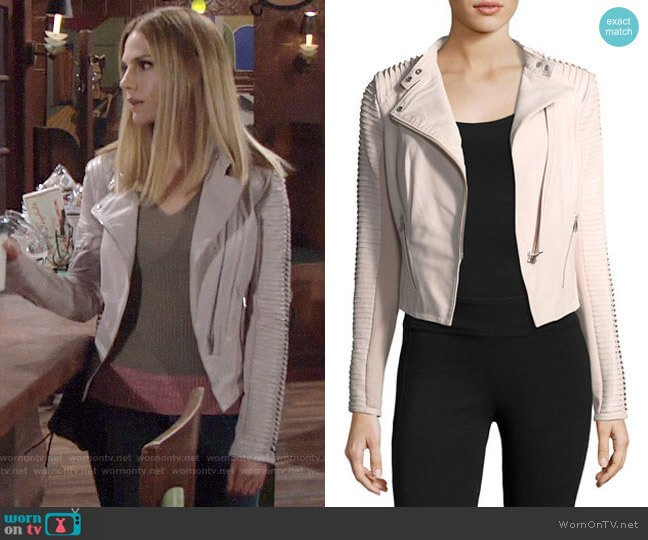 LaMarque Stripped Leather Motorcycle Jacket worn by Mack on The Young and the Restless