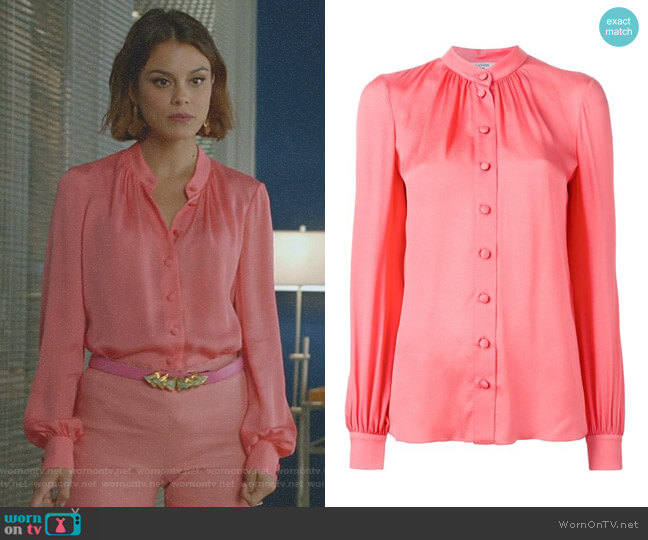 Button Down Blouse by Lanvin worn by Nathalie Kelley on Dynasty