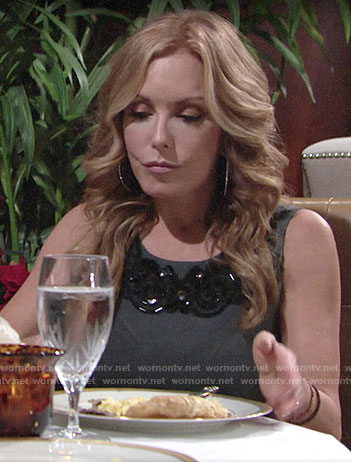 Lauren's grey embellished dress on The Young and the Restless