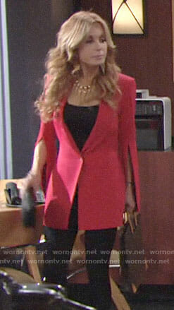 Lauren's red split-sleeve blazer and gold tassel necklace on The Young and the Restless