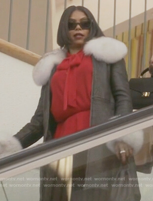Cookie's black leather fur collar coat on Empire