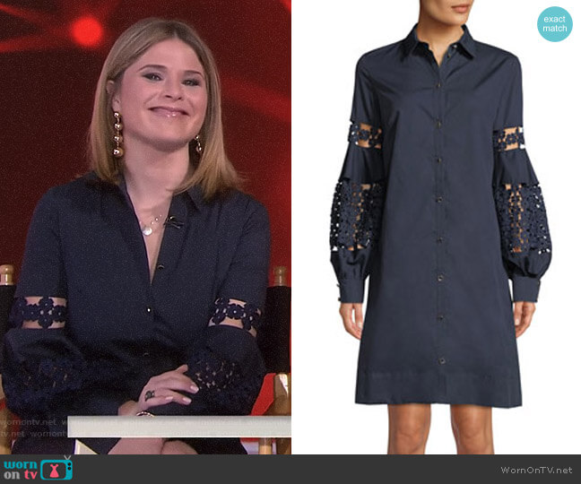 Lace-Inset Full-Sleeve Poplin Shirtdress by Lela Rose worn by Jenna Bush Hager on Today