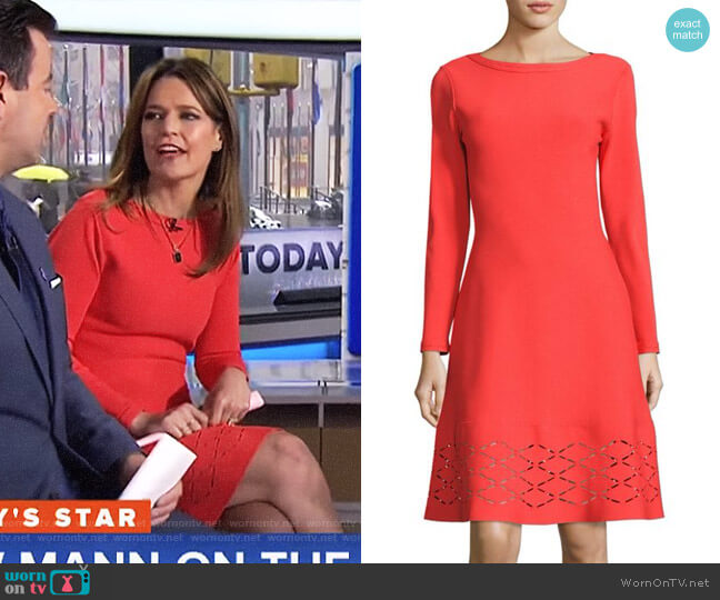 Laser-Cut Hem Knit Flare Dress by Lela Rose worn by Savannah Guthrie  on Today