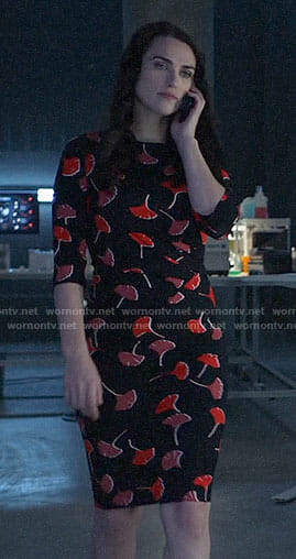 Lena's black and red flower print dress on Supergirl