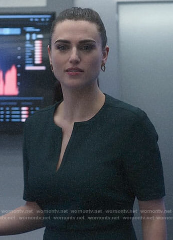 Lena's dark green dress on Supergirl