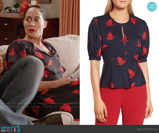 Lewit Puffed Sleeve Print Silk Top worn by Tracee Ellis Ross on Blackish