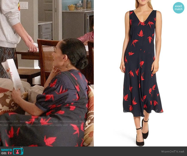 Lewit Print Midi Dress worn by Tracee Ellis Ross on Blackish