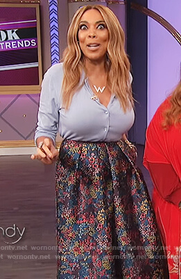 Wendy's blue cardigan and floral print skirt on The Wendy Williams Show
