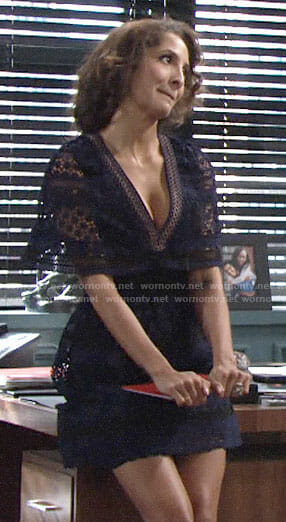 Lily's navy lace v-neck dress on The Young and the Restless