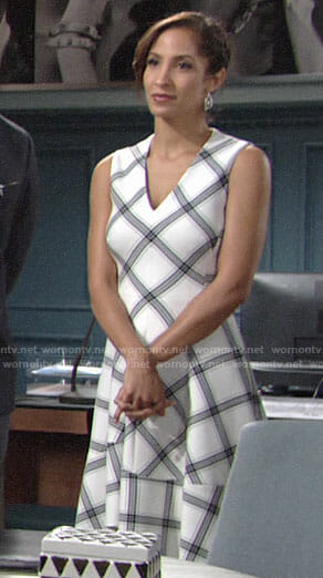 Lily's white plaid dress on The Young and the Restless