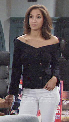 Lily's off-shoulder blazer on The Young and the Restless