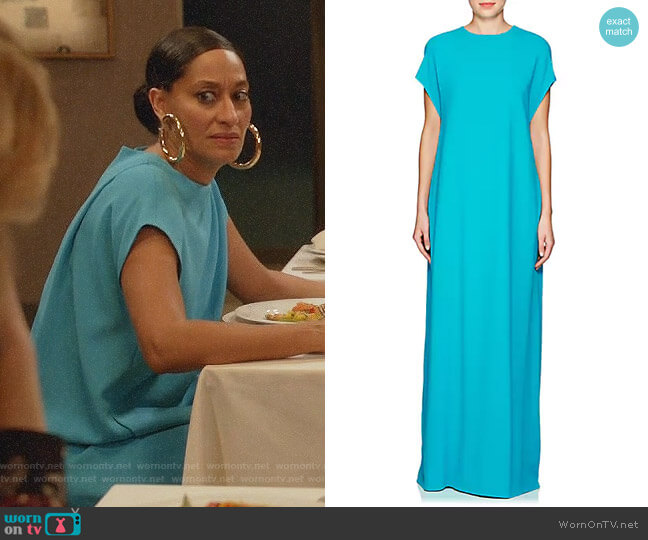 Lisa Perry Flyaway Crepe Gown worn by Rainbow Johnson (Tracee Ellis Ross) on Blackish