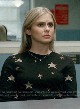 Liv's black and gold star sweater on iZombie