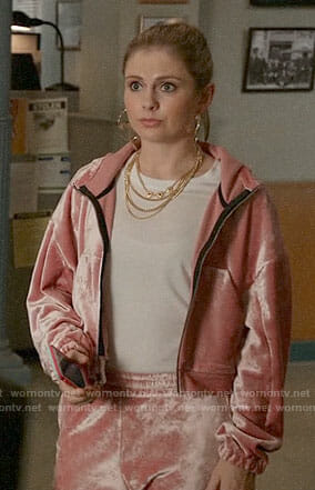 Liv's pink velour track suit and honey hoop earrings on iZombie