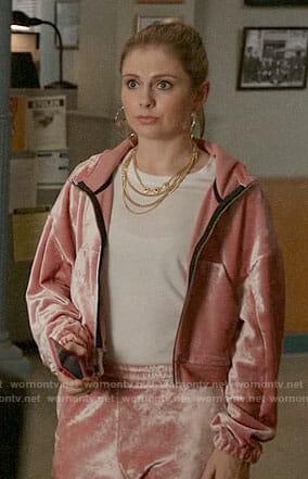 Liv's pink velour track suit and honey hoop earrings on iZombie