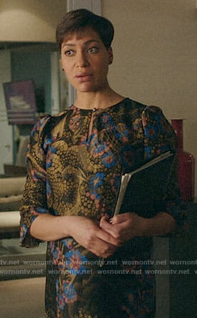 Lucca's floral dress with front keyhole on The Good Fight