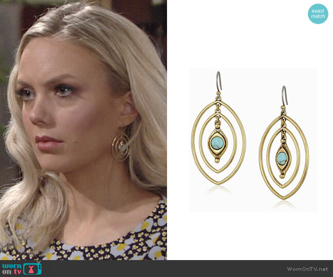Lucky Brand Turquoise Double Oval Earrings worn by Abby Newman (Melissa Ordway) on The Young & the Restless