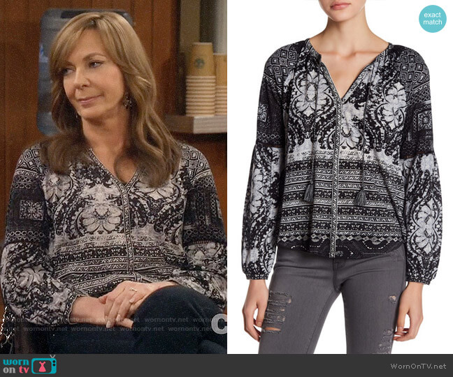 Lucky Brand Mixed Print Split Neck Top worn by Allison Janney on Mom