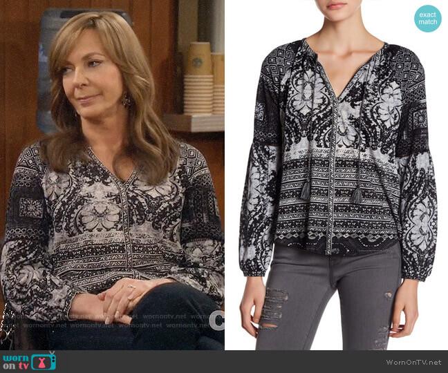 Lucky Brand Mixed Print Split Neck Top worn by Bonnie Plunkett (Allison Janney) on Mom