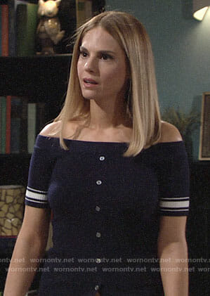 Mack's navy off-shoulder top with striped sleeves on The Young and the Restless