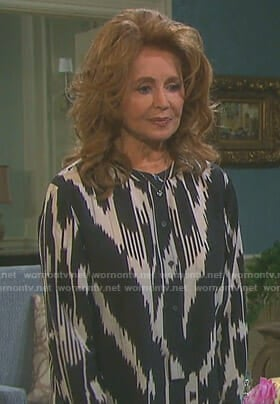 Maggie's black ikat print blouse on Days of our Lives