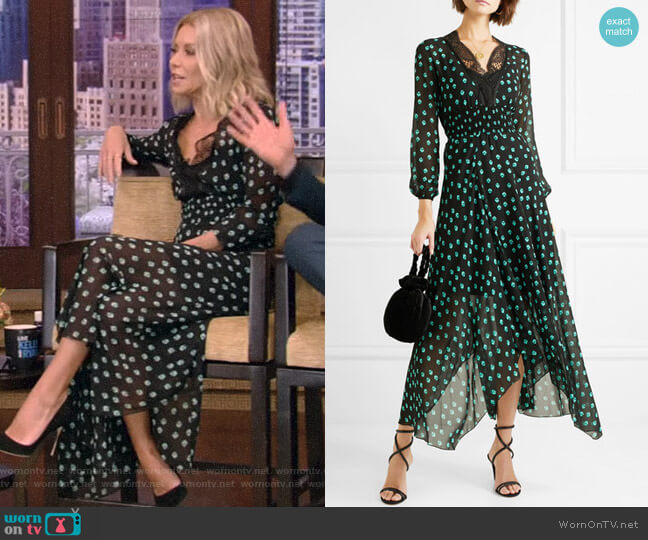 Asymmetric Lace-Trimmed Printed Chiffon Dress by Maje worn by Kelly Ripa (Kelly Ripa) on Live with Kelly & Ryan
