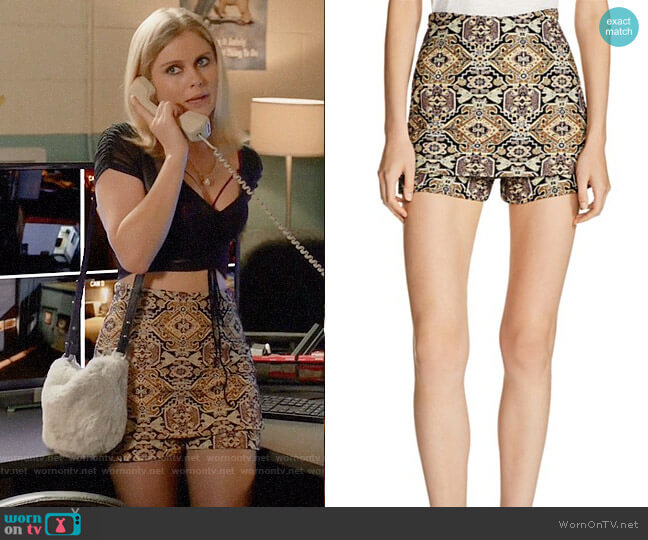 Maje Ilio Front-Overlay Tapestry-Inspired Jacquard Mini Shorts worn by Liv Moore (Rose McIver) on iZombie