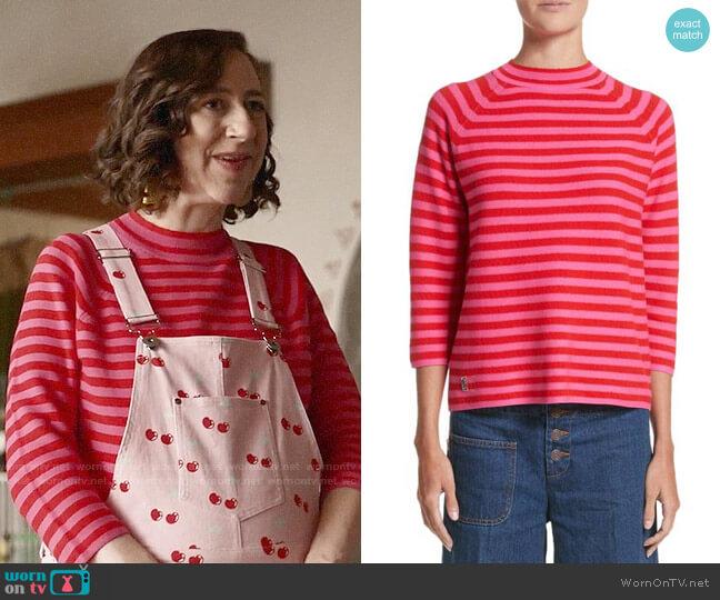 Marc Jacobs Stripe Mock Neck Sweater worn by Kristen Schaal on Last Man On Earth